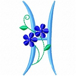 Monogram Blossom H embroidery design