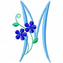Monogram Blossom M embroidery design