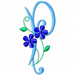 Monogram Blossom P embroidery design