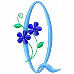 Monogram Blossom Q embroidery design