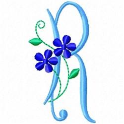 Monogram Blossom R embroidery design