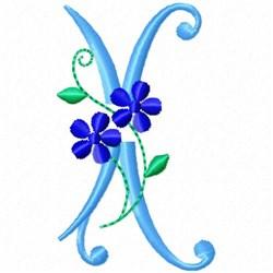 Monogram Blossom X embroidery design