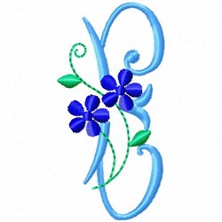 Monogram Blossom E embroidery design
