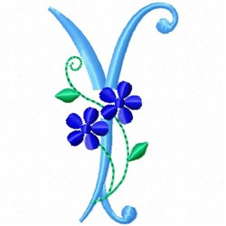 Monogram Blossom Y embroidery design