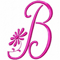Monogram Pink B embroidery design
