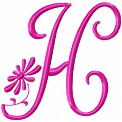 Monogram Pink H embroidery design