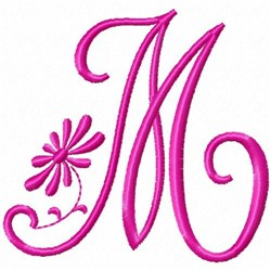 Monogram Pink M embroidery design