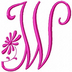 Monogram Pink W embroidery design