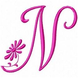 Monogram Pink N embroidery design