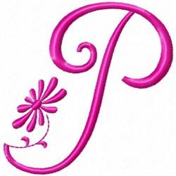 Monogram Pink P embroidery design