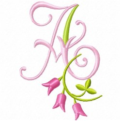 Monogram Pink Bloom A embroidery design