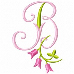 Monogram Pink Bloom B embroidery design