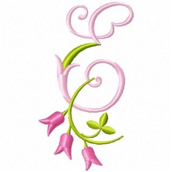Monogram Pink Bloom E embroidery design