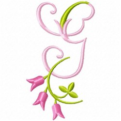 Monogram Pink Bloom G embroidery design