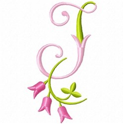 Monogram Pink Bloom J embroidery design