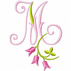 Monogram Pink Bloom M embroidery design