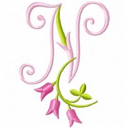 Monogram Pink Bloom N embroidery design