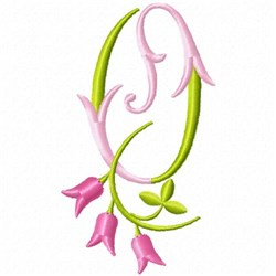 Monogram Pink Bloom O embroidery design