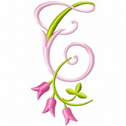 Monogram Pink Bloom T embroidery design