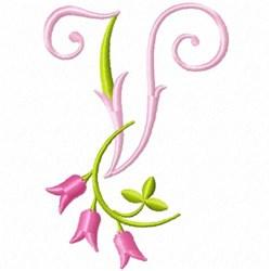 Monogram Pink Bloom V embroidery design