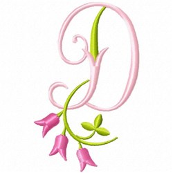 Monogram Pink Bloom D embroidery design