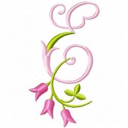 Monogram Pink Bloom E embroidery design