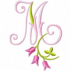 Monogram Pink Bloom M embroidery design