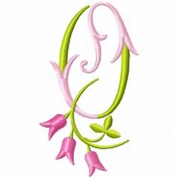 Monogram Pink Bloom O embroidery design