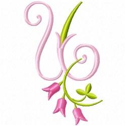 Monogram Pink Bloom U embroidery design