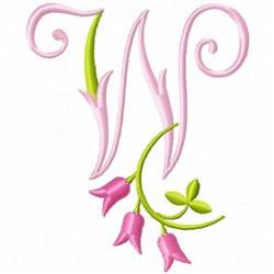 Monogram Pink Bloom W embroidery design