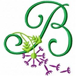 Monogram Bloom B embroidery design