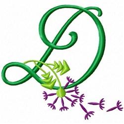 Monogram Bloom D embroidery design