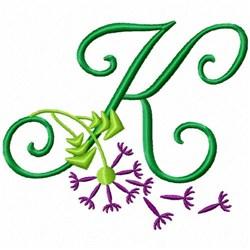 Monogram Bloom K embroidery design