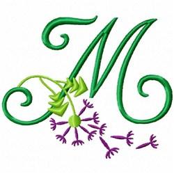 Monogram Bloom M embroidery design