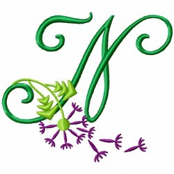 Monogram Bloom N embroidery design