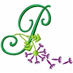 Monogram Bloom P embroidery design