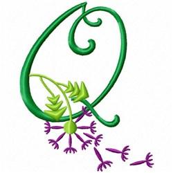 Monogram Bloom Q embroidery design