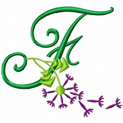 Monogram Bloom F embroidery design