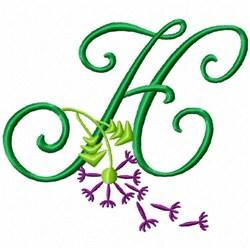 Monogram Bloom H embroidery design