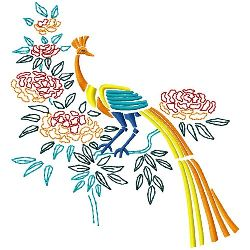 Flowers & Peacock 1 embroidery design