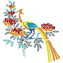 Peacock & Blossoms 1 embroidery design