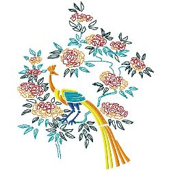 Flowers & Peacock 2 embroidery design