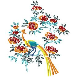 Peacock & Blossoms 2 embroidery design
