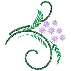 Fern & Flowers embroidery design