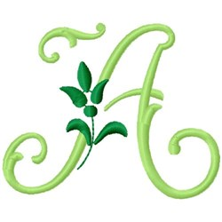 Greenery Monogram Font A embroidery design
