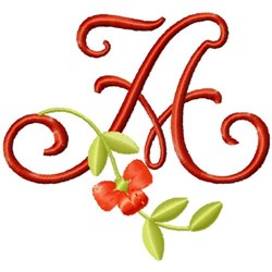 Floral Monogram Font A embroidery design