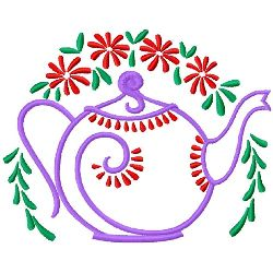 Teapot And Flowers embroidery design