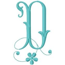 Floral Monogram Font D embroidery design