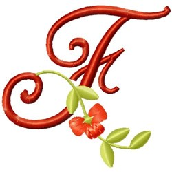 Floral Monogram Font F embroidery design