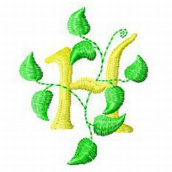 Vine Letter H embroidery design